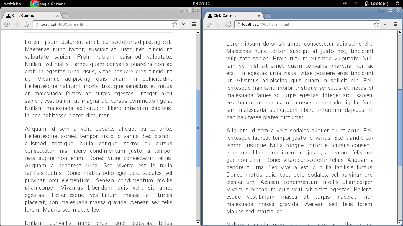 Before and after of hyphenated text